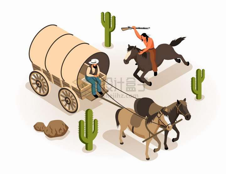 2.5D风格骑马的印第安人和驾驶马车的西部牛仔png图片免抠矢量素材