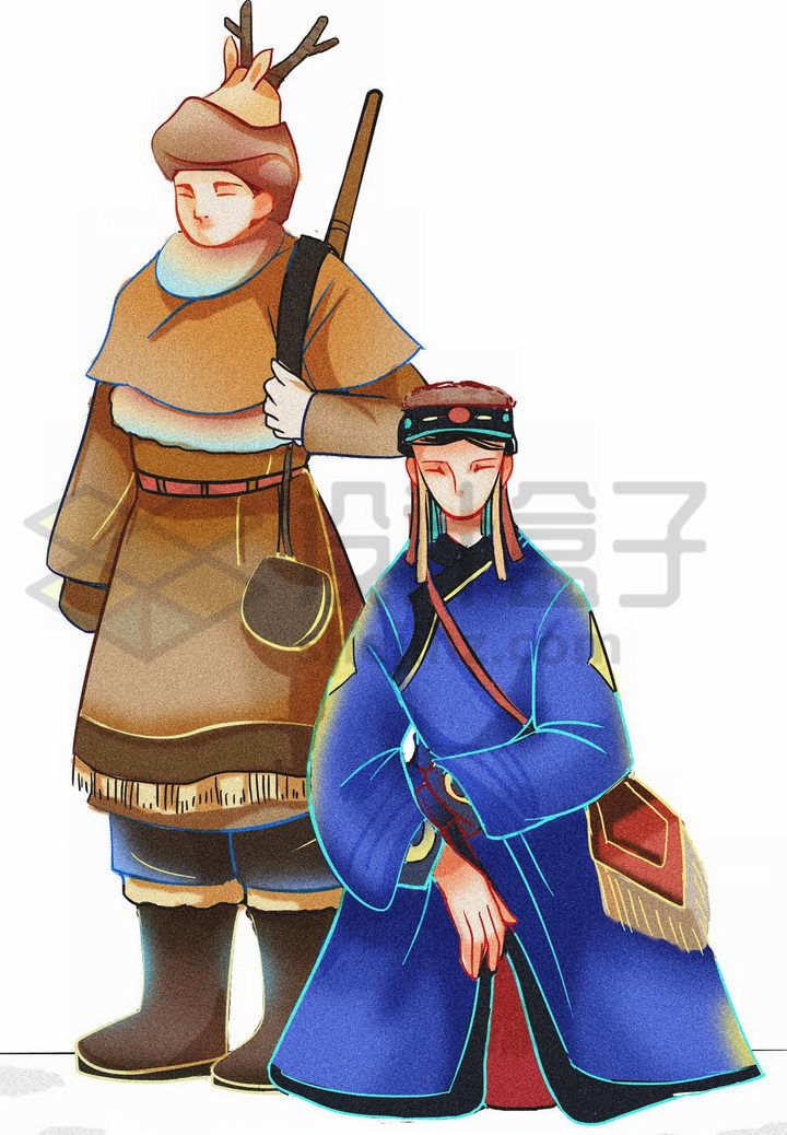 插画风格鄂伦春族传统服饰少数民族png图片免抠素材