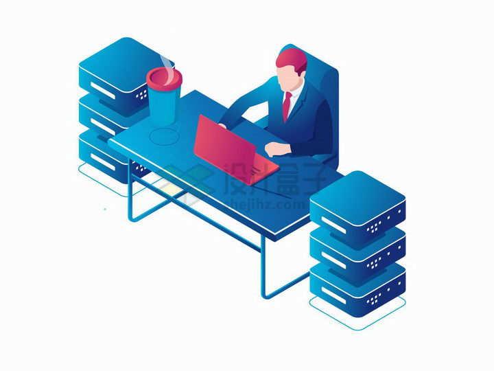 2.5D风格程序员操作笔记本电脑和云计算存储技术服务器连接png图片免抠矢量素材