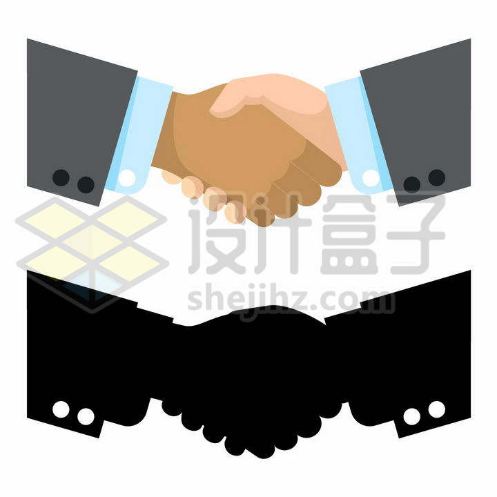 两只手握在一起握手剪影png图片免抠矢量素材