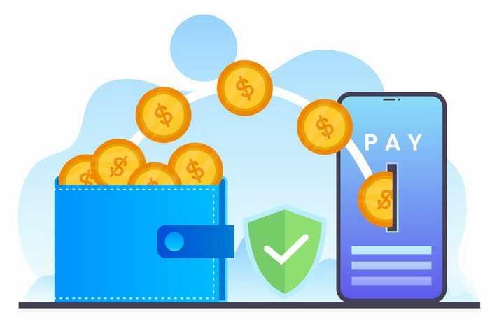 扁平插画蓝色钱包中的金币飞入到手机中象征了移动网络支付png图片免抠矢量素材