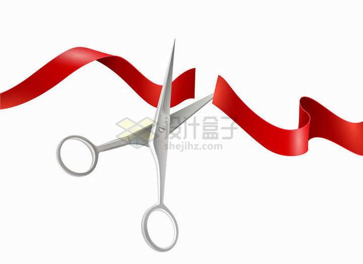 银色的剪刀剪断红色绸带开业剪彩活动png图片免抠矢量素材