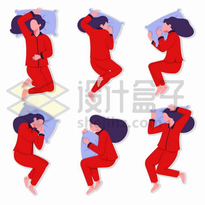 6款身穿红色睡衣的女孩睡觉姿势png图片免抠矢量素材