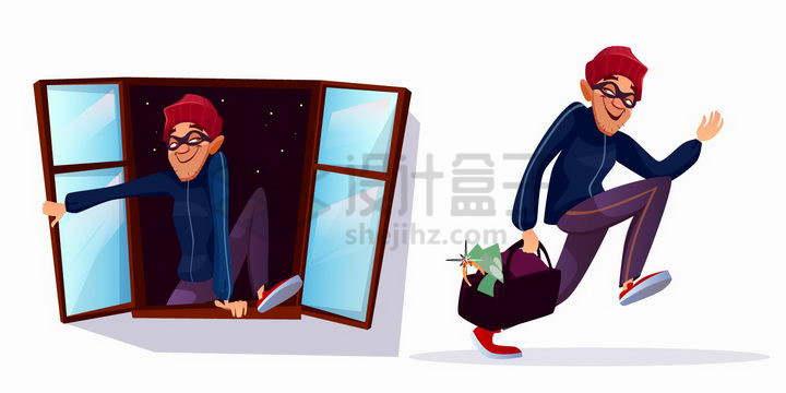 卡通小偷翻窗逃跑png图片免抠矢量素材