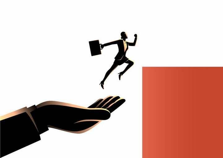 黑色插画风格从手上跳过障碍的商务职场女士png图片免抠素材