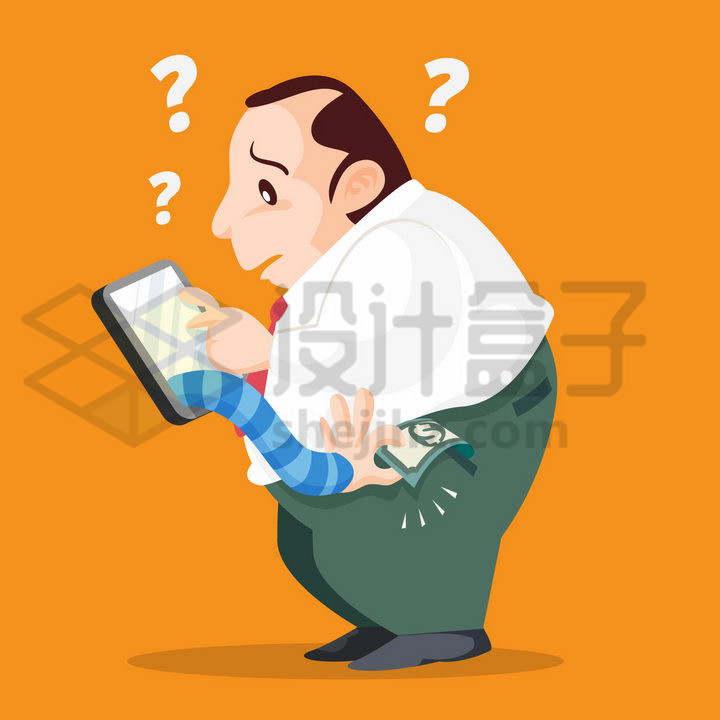 卡通男人被手机里伸出的手偷走了口袋里的钱象征了手机诈骗png图片免抠矢量素材