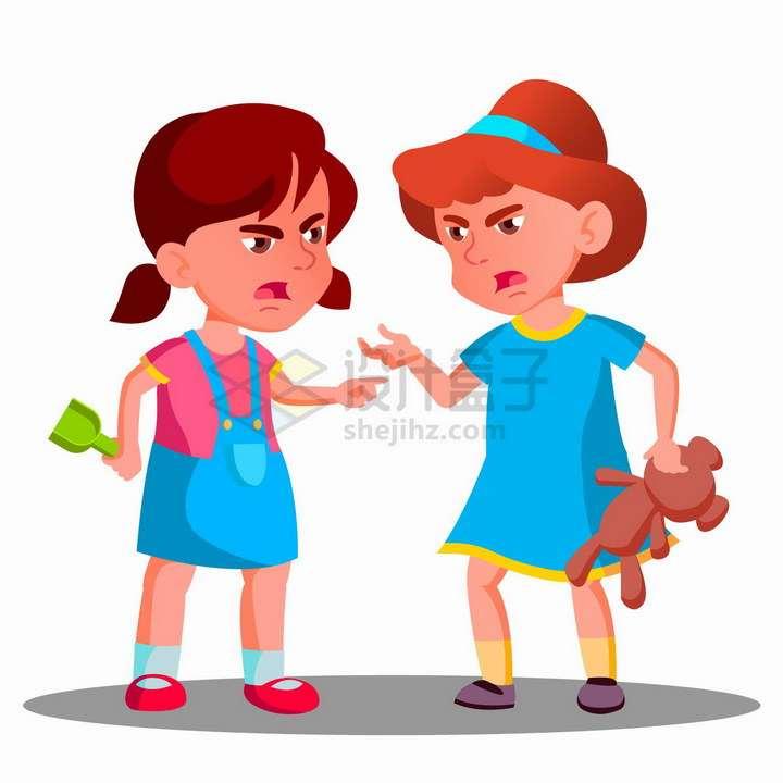 两个为了玩具吵架的卡通女孩png图片免抠矢量素材