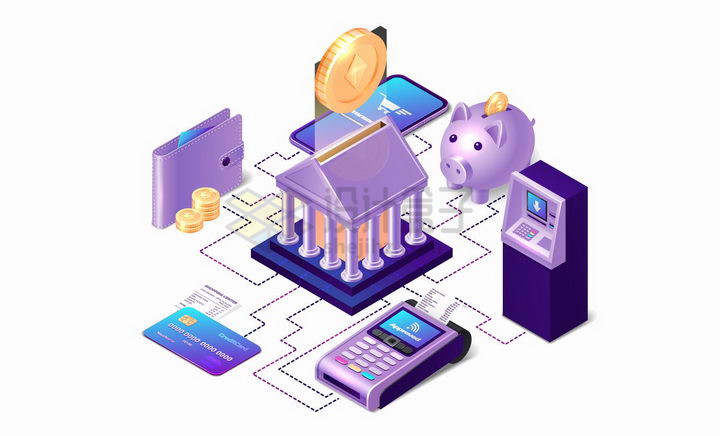 3D风格钱包银行卡信用卡POS机ATM机储钱罐智能手机等移动手机支付png图片免抠矢量素材