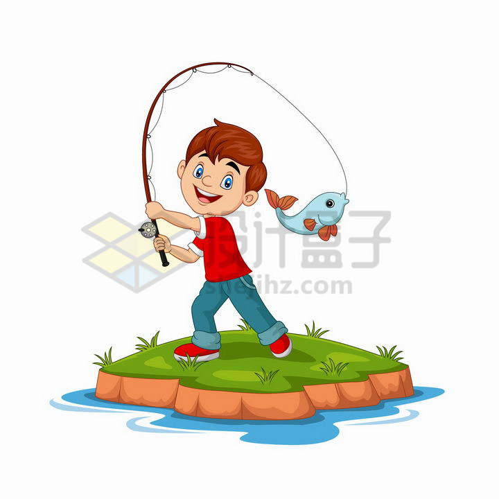 卡通男孩正在钓鱼png图片免抠矢量素材