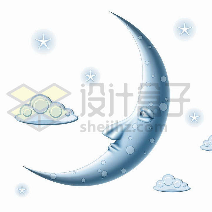 淡蓝色抽象风格弯弯的月亮人脸表情png图片免抠矢量素材