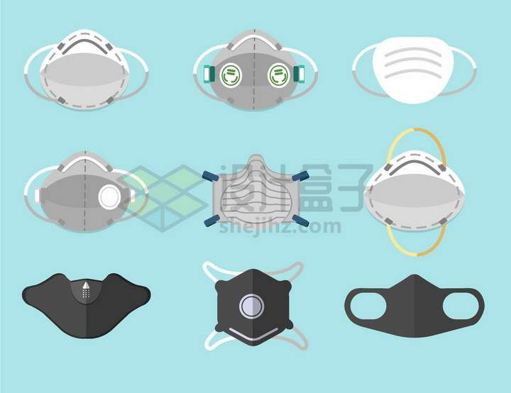 9款各种类型的N95口罩png图片免抠矢量素材