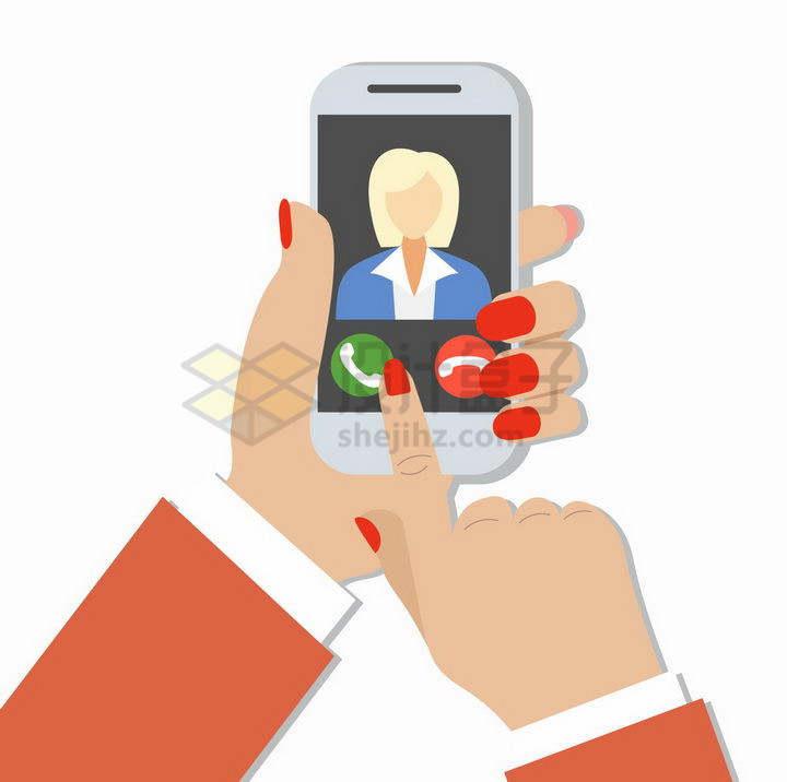 扁平化风格商务女士手机上拨打电话png图片免抠矢量素材