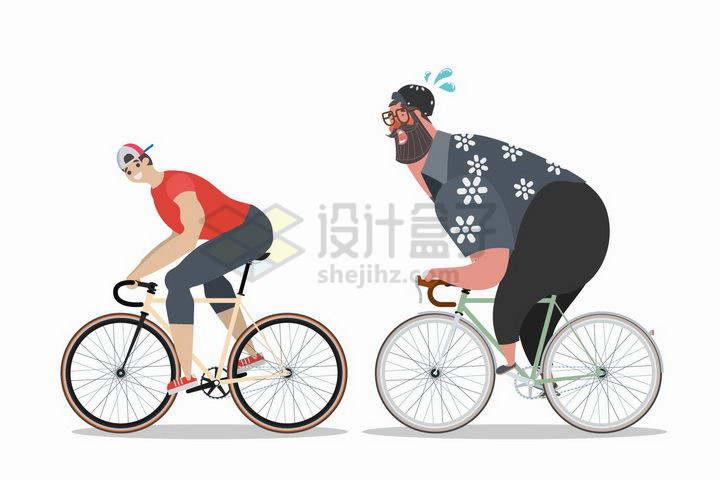 卡通胖子和瘦子骑自行车运动png图片免抠矢量素材