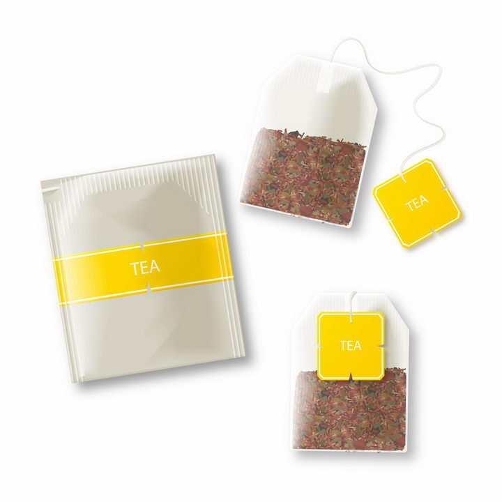 逼真的茶包茶叶小包装饮料png图片免抠素材