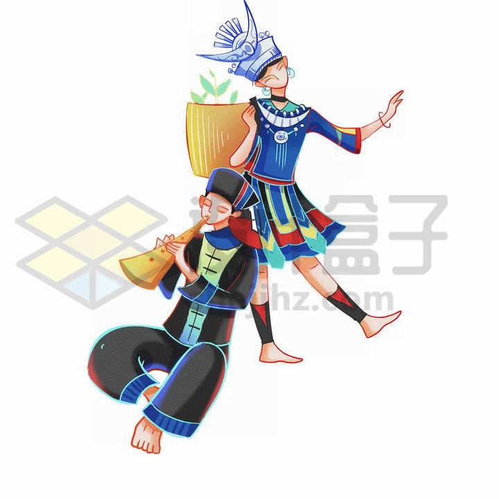 卡通水族少女少年传统服饰少数民族png图片免抠素材