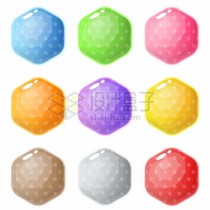 圆润的斑点六边形游戏宝石png图片免抠素材