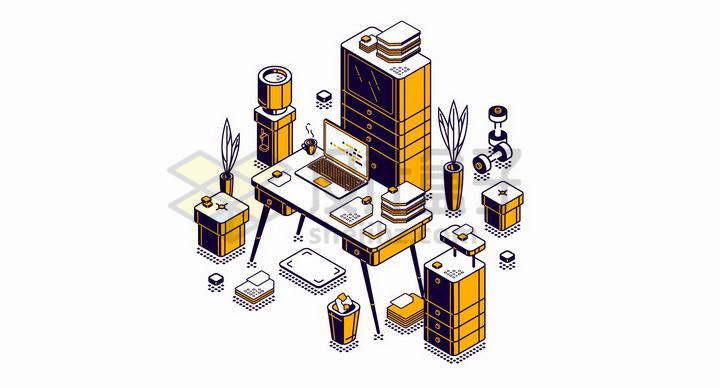 黄色2.5D风格办公桌和文件柜等办公用品png图片免抠矢量素材