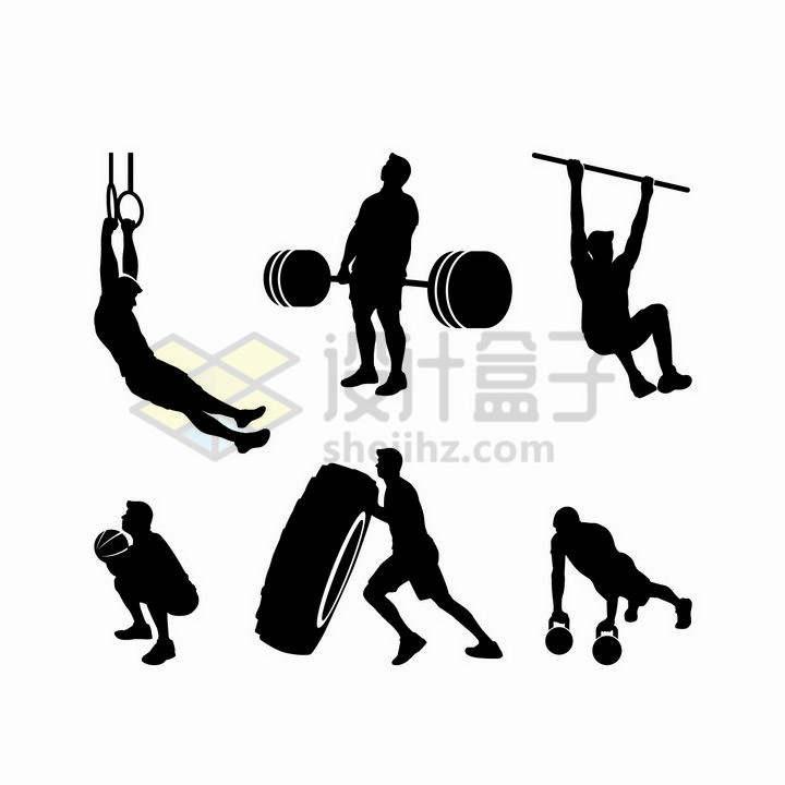 吊环举重单杠推轮胎俯卧撑等健身运动剪影png图片免抠矢量素材