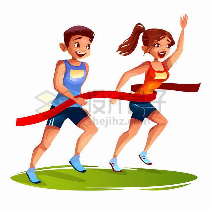 两个冲到终点线撞线的卡通男女运动员png图片免抠矢量素材