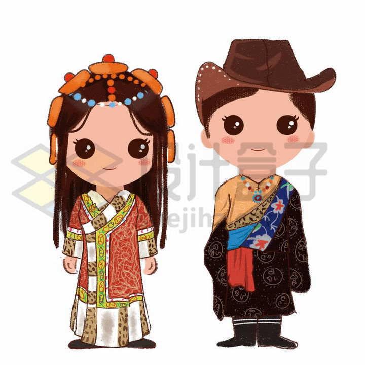 站立的卡通藏族少女少年传统服饰少数民族png图片免抠素材