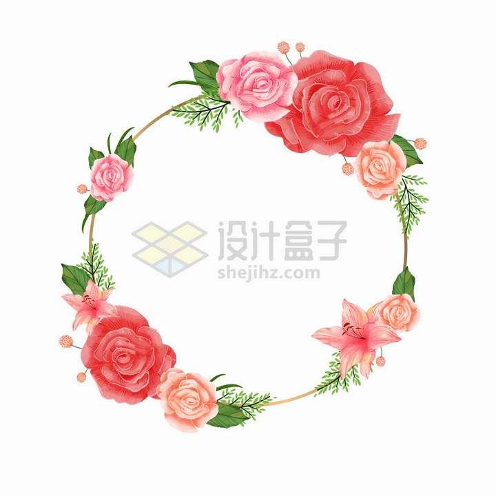 鲜红色的玫瑰花百合花组成的婚礼花环文本框标题框png图片免抠矢量素材