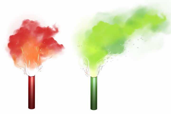发出红色和绿色火焰烟雾效果的燃烧棒照明棒png图片免抠矢量素材