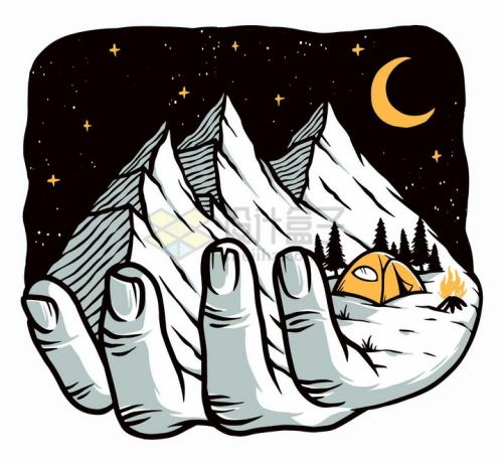 手上的高山和月亮手绘插画png图片免抠矢量素材