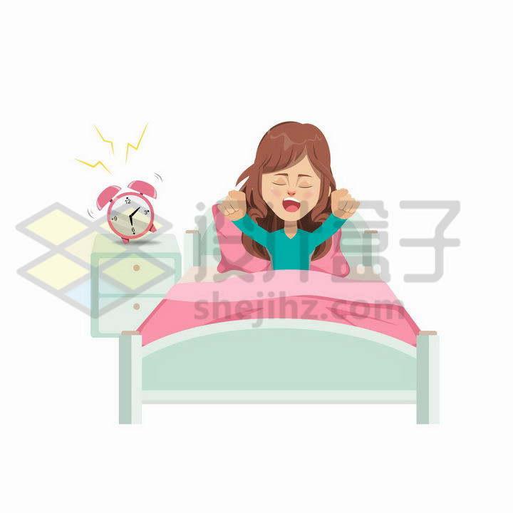 被闹钟吵醒的卡通女孩png图片免抠矢量素材
