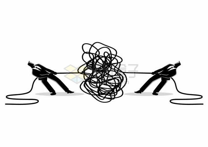 插画风格一团乱麻拔河的竞争关系商务人士png图片免抠素材