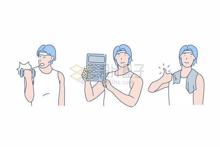 健身的青年锻炼效果显著线条插画png图片免抠素材