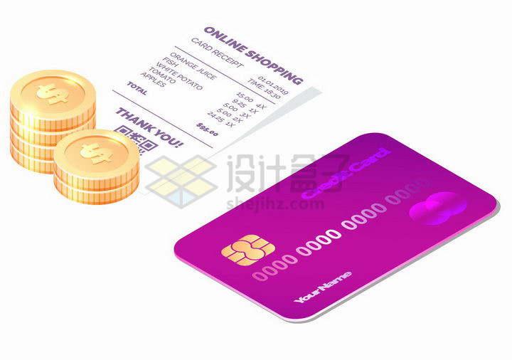 3D风格紫色银行卡信用卡金币和消费清单小票png图片免抠矢量素材