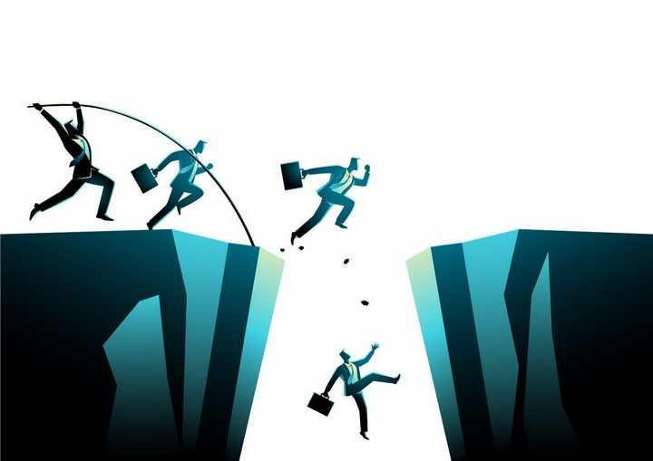用各种方式越过悬崖的商务人士象征了困难png图片免抠素材
