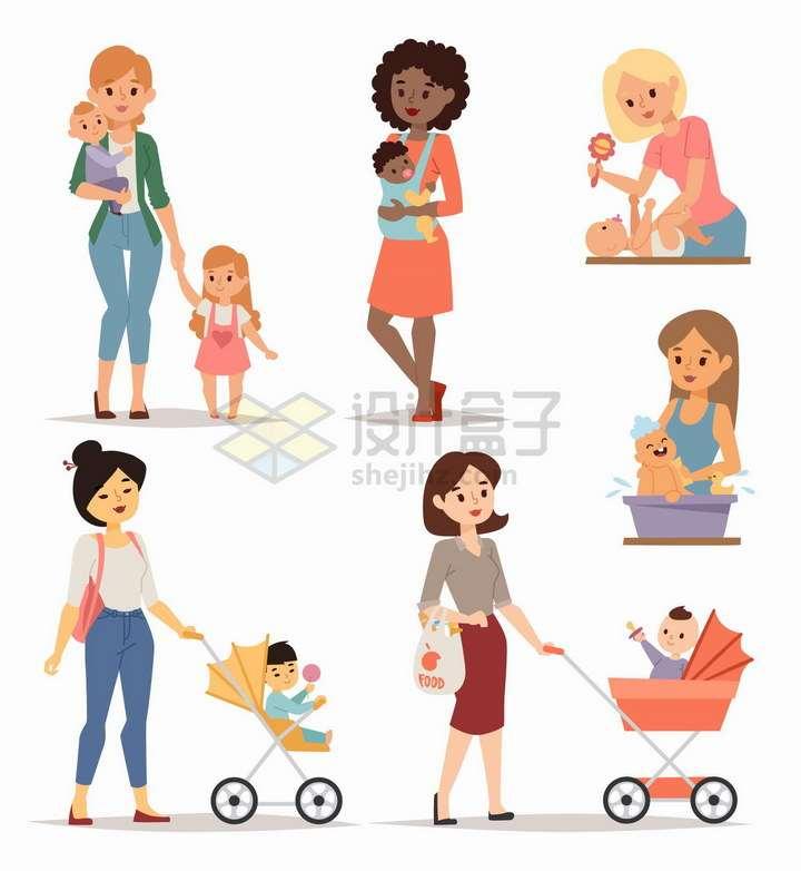 年轻妈妈抱着孩子或者是推着婴儿车png图片免抠矢量素材