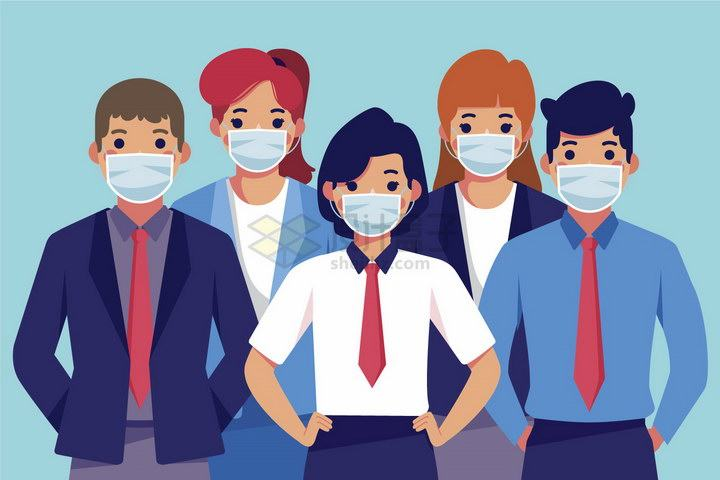 5个佩戴一次性医用口罩的卡通商务人士png图片免抠矢量素材