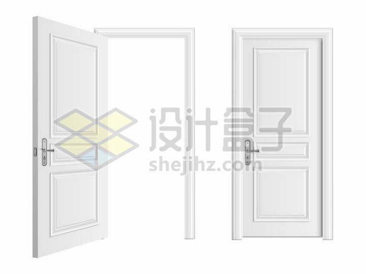 打开和关闭的白色木门房门png图片免抠矢量素材