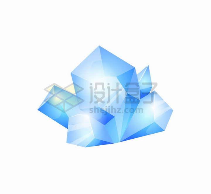 蓝色的卡通水晶游戏宝石道具png图片免抠矢量素材