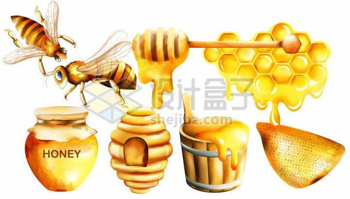 金黄色的蜜蜂和蜂蜜巢蜜png图片免抠矢量素材