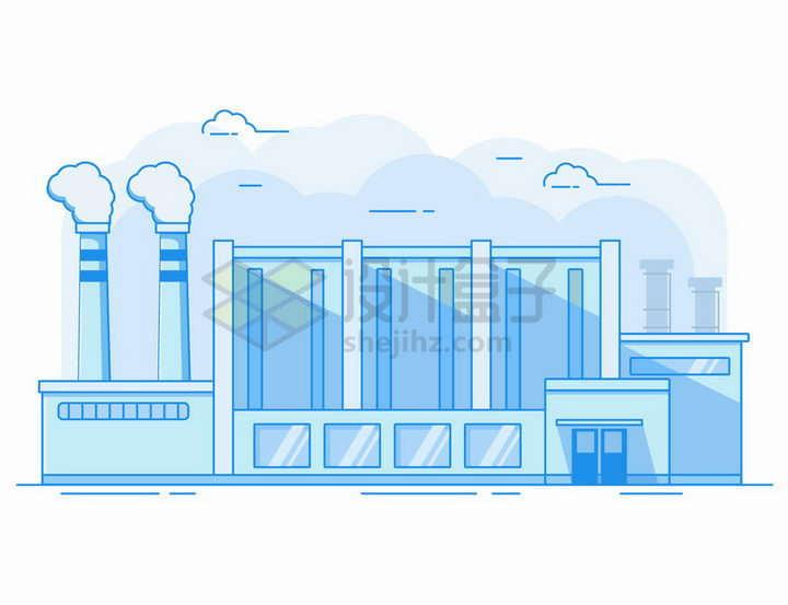 MBE风格蓝色的工厂厂房和冒烟的烟囱png图片免抠矢量素材