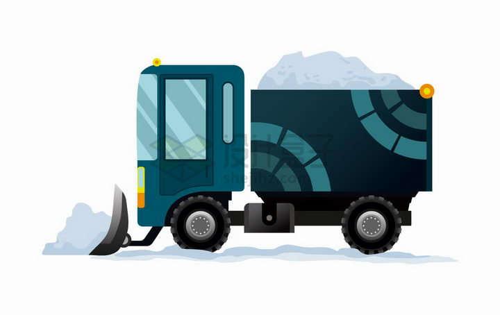 卡通铲雪车正在工作工程机械png图片免抠矢量素材