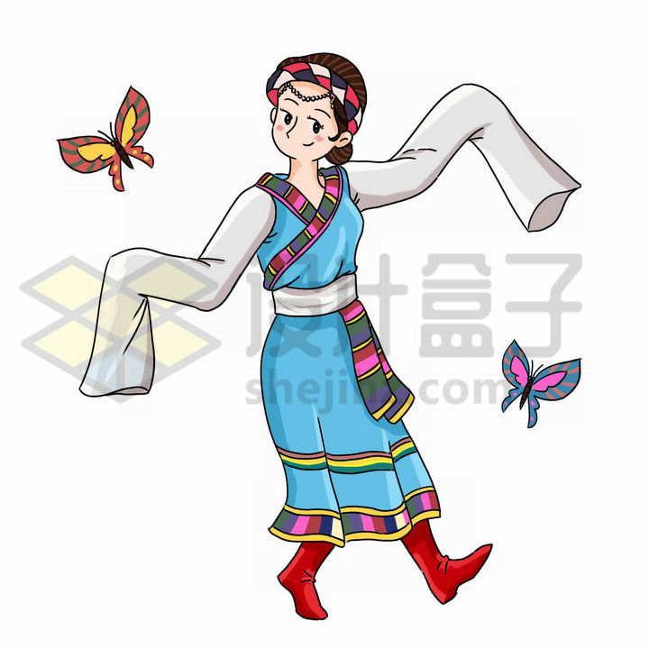 跳舞的卡通藏族少女传统服饰少数民族png图片免抠素材