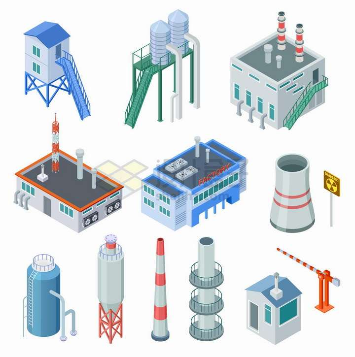 2.5D风格工厂厂房冷却塔散热塔等设施png图片免抠矢量素材