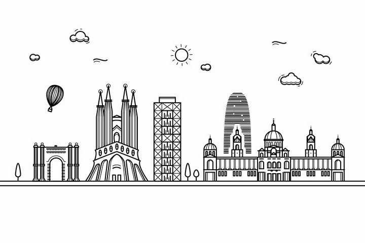 黑色线条手绘风格巴塞罗那城市建筑知名旅游城市天际线png图片免抠素材