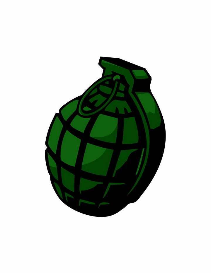 绿色漫画风格手榴弹png图片免抠矢量素材