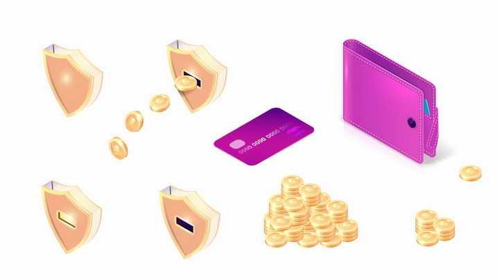 3D风格金色防护盾金币银行卡钱包等金融元素png图片免抠矢量素材
