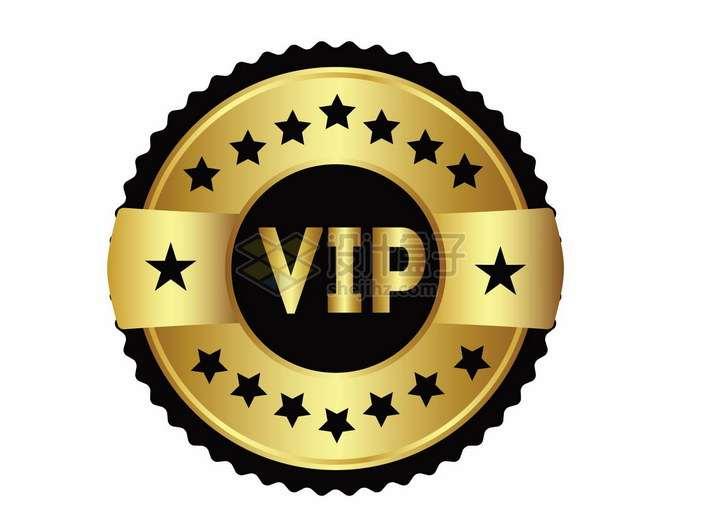 VIP金色和黑色勋章会员标志png图片免抠矢量素材
