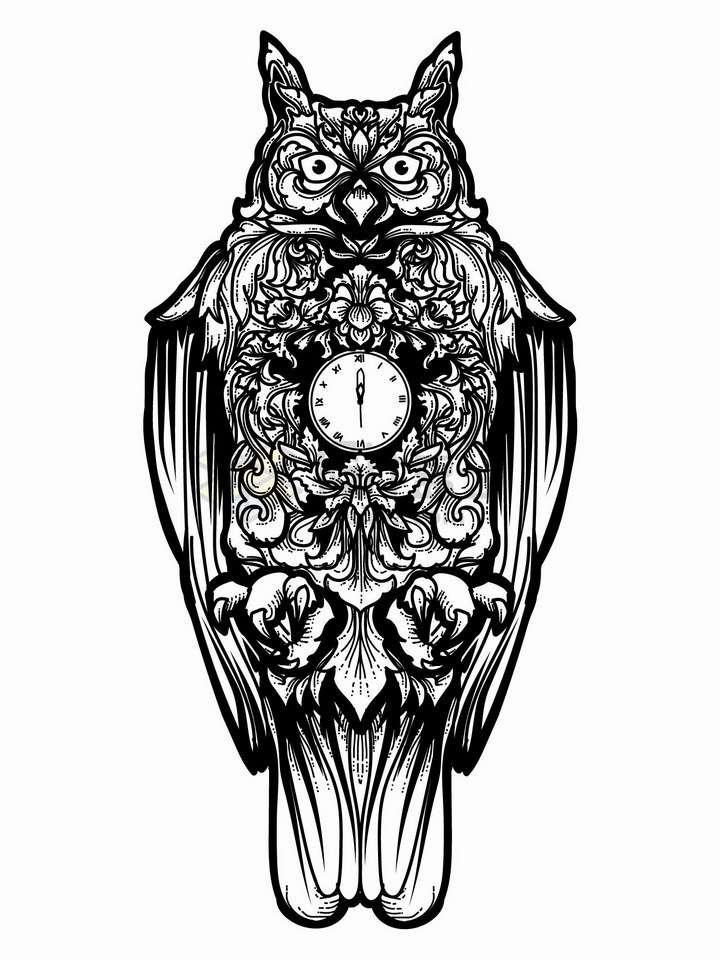 猫头鹰钟表带有抽象花纹黑色线条插画png图片免抠矢量素材