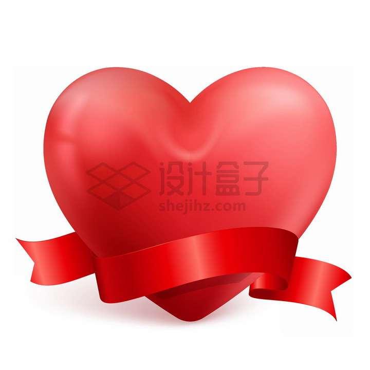 高光风格红心和红色丝带装饰爱心png图片免抠素材