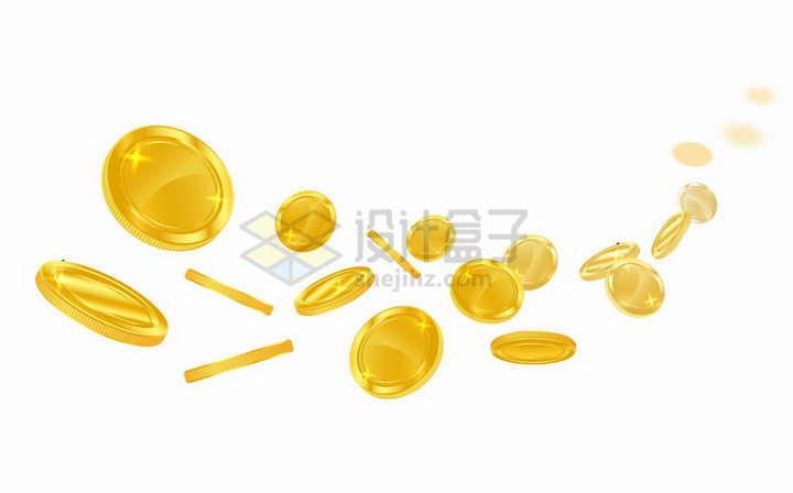 飞舞的金色金币装饰png图片免抠矢量素材