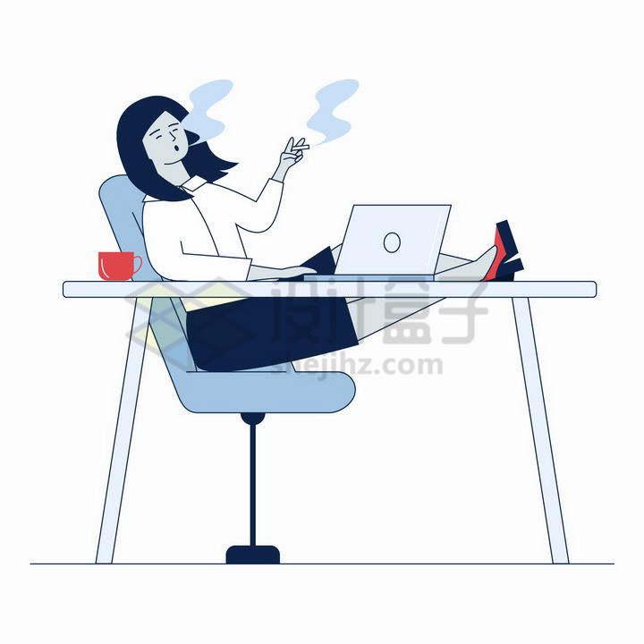 扁平插画翘腿在桌上靠在椅子上吸烟的职场女性png图片免抠矢量素材