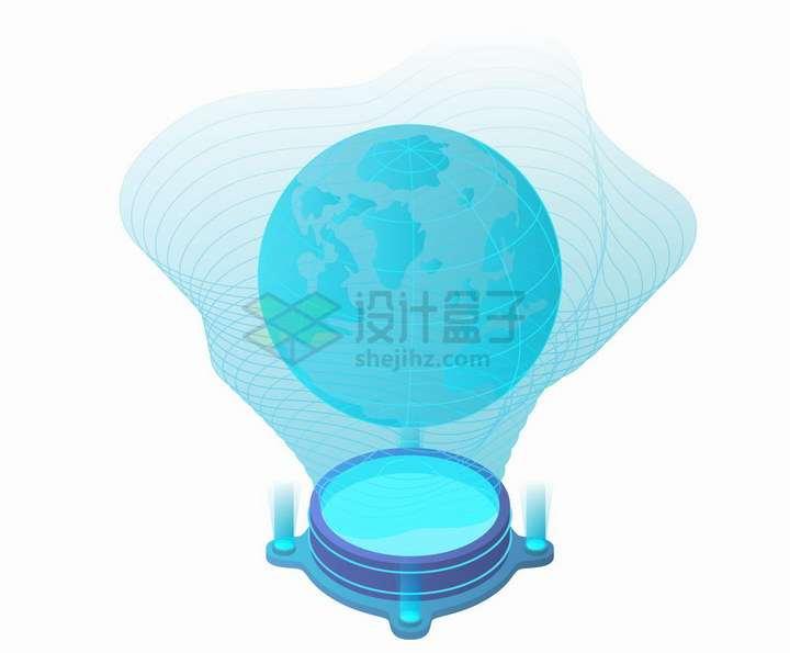2.5D风格蓝色AR增强现实技术地球模型投影png图片免抠矢量素材